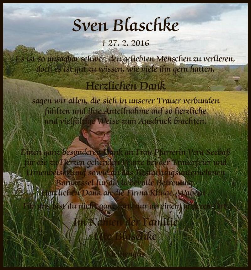 Anzeige von  Sven Blaschke