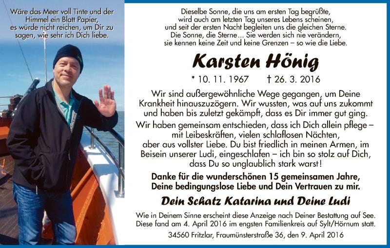 Traueranzeige für Karsten Hönig vom 09.04.2016 aus HNA