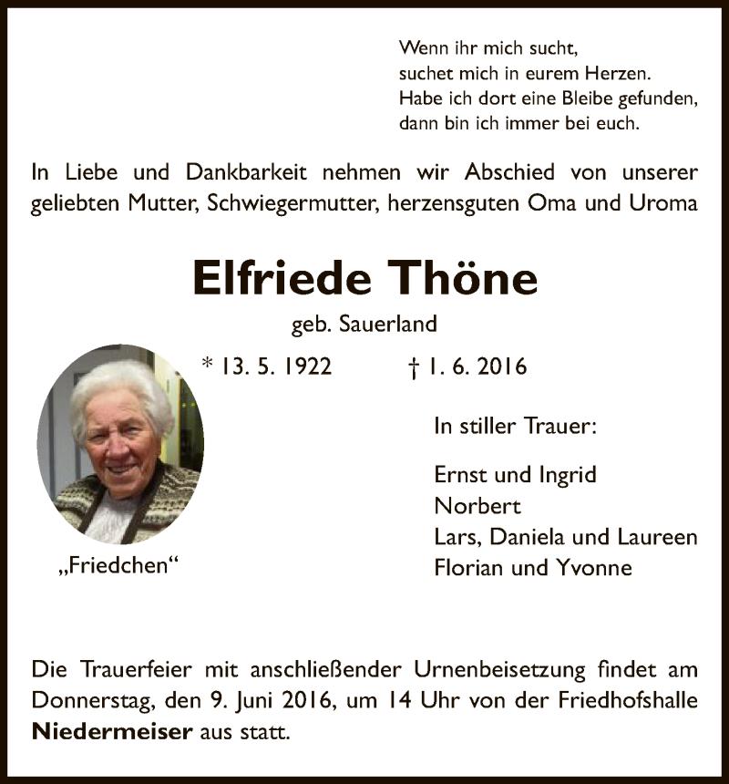 Anzeige von  Elfriede Thöne