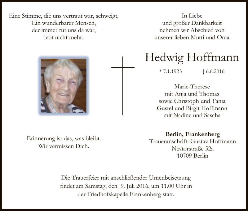 Anzeige von  Hedwig Hoffmann