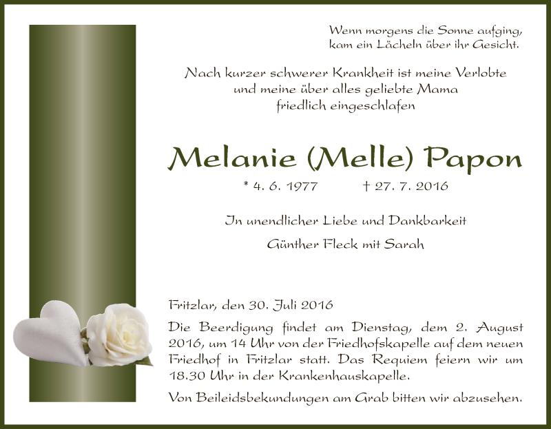 Traueranzeige für Melanie Papon vom 30.07.2016 aus HNA