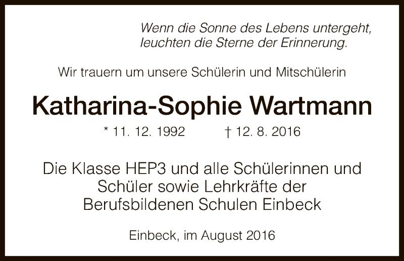 Traueranzeige für Katharina-Sophie Wartmann vom 16.08.2016 aus HNA