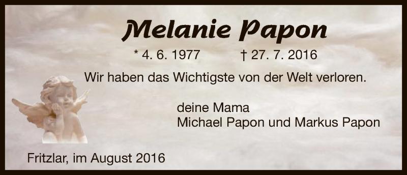 Traueranzeige für Melanie Papon vom 02.08.2016 aus HNA