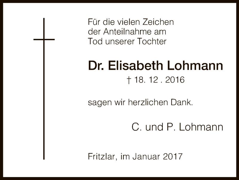 Anzeige von  Elisabeth Lohmann