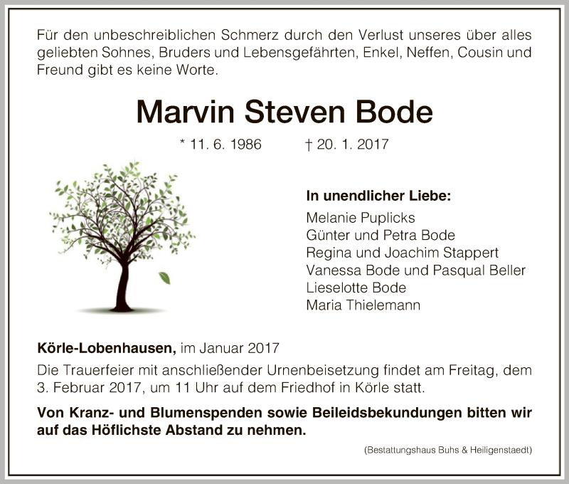 Anzeige von  Marvin Steven Bode