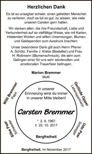 Traueranzeige von Carsten Bremmer von HNA