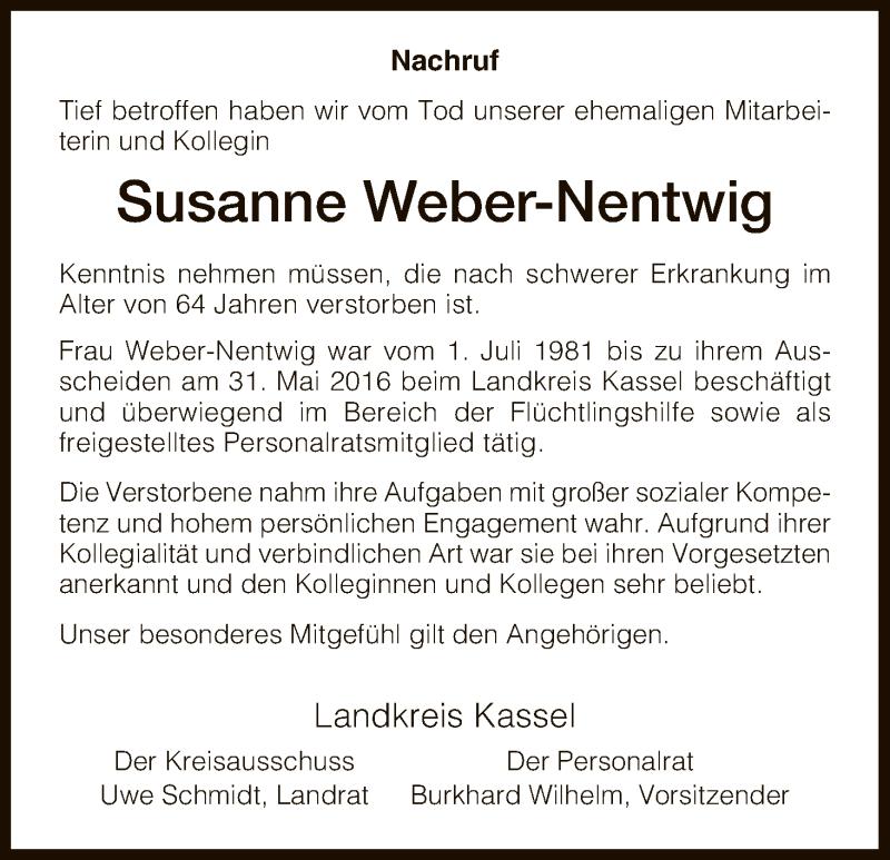 Traueranzeige für Susanne Weber-Nentwig vom 03.11.2017 aus HNA