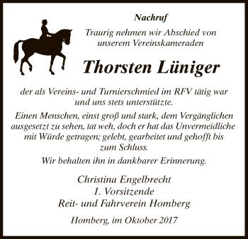 Traueranzeige von Thorsten Lüniger von HNA