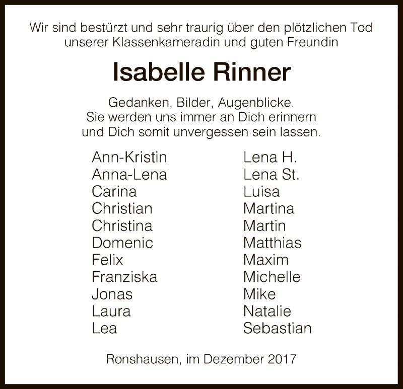 Traueranzeige für Isabelle Rinner vom 23.12.2017 aus HNA