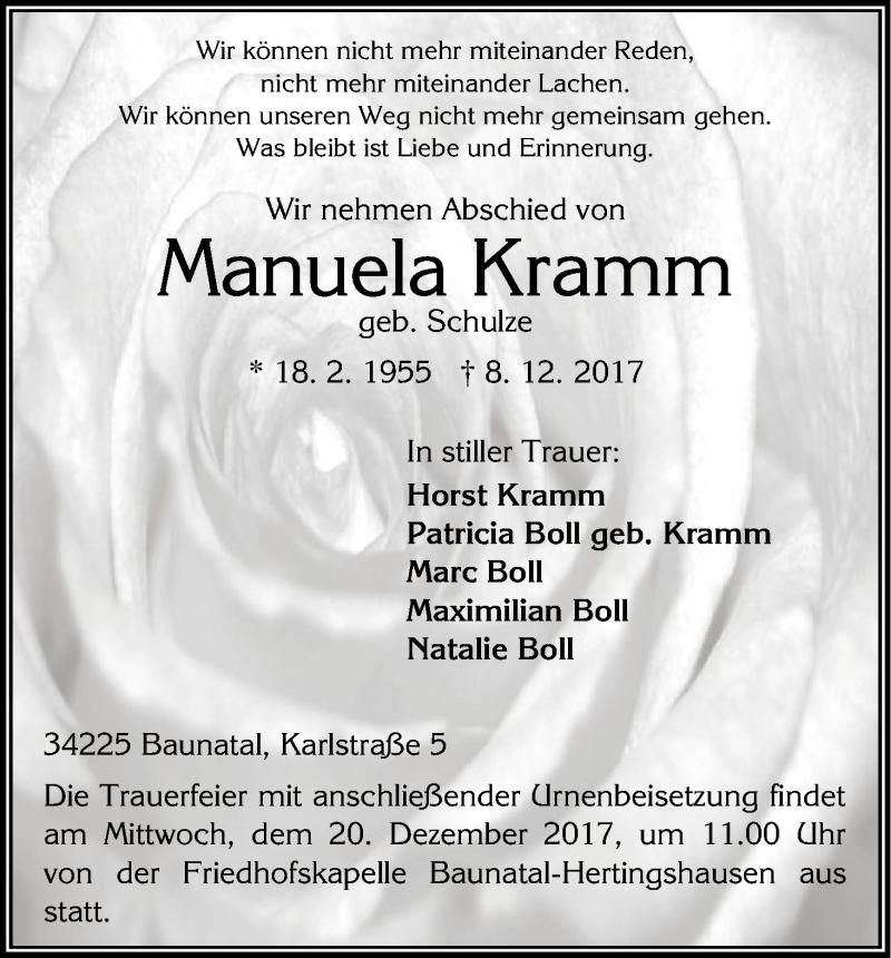 Anzeige von  Manuela Kramm