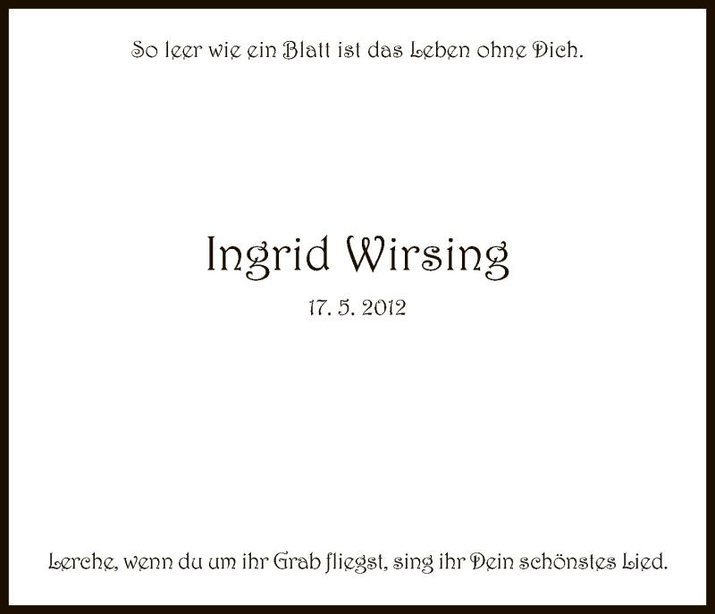 Anzeige von  Ingrid Wirsing