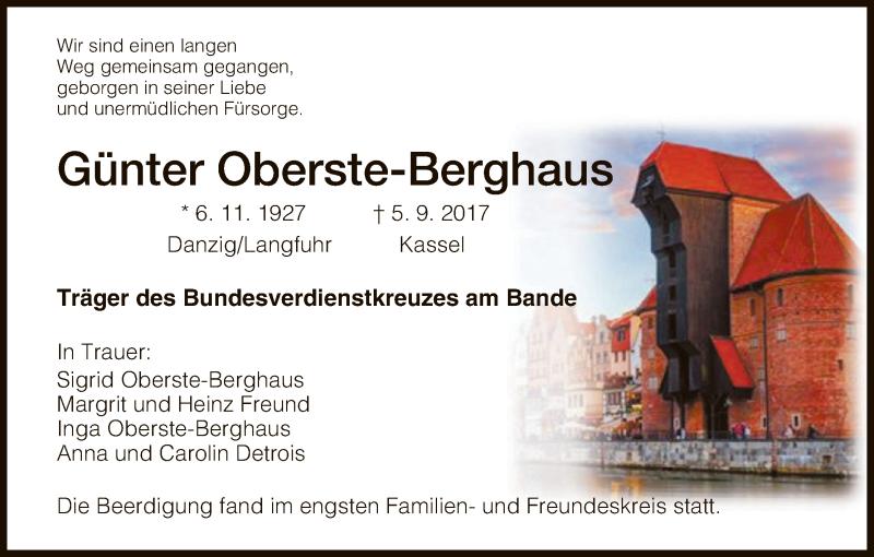 Traueranzeige für Günter Oberste-Berghaus vom 16.09.2017 aus HNA