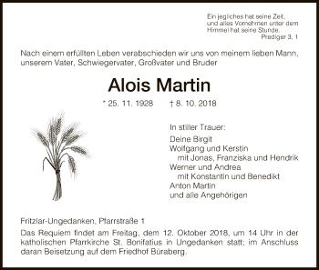 Traueranzeige für Alois Martin vom 10.10.2018 aus HNA