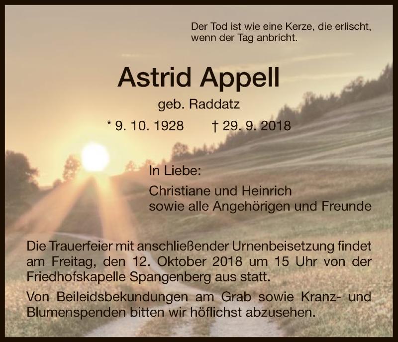 Traueranzeige für Astrid Appell vom 10.10.2018 aus HNA