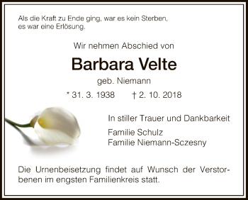 Traueranzeige für Barbara Velte vom 10.10.2018 aus HNA