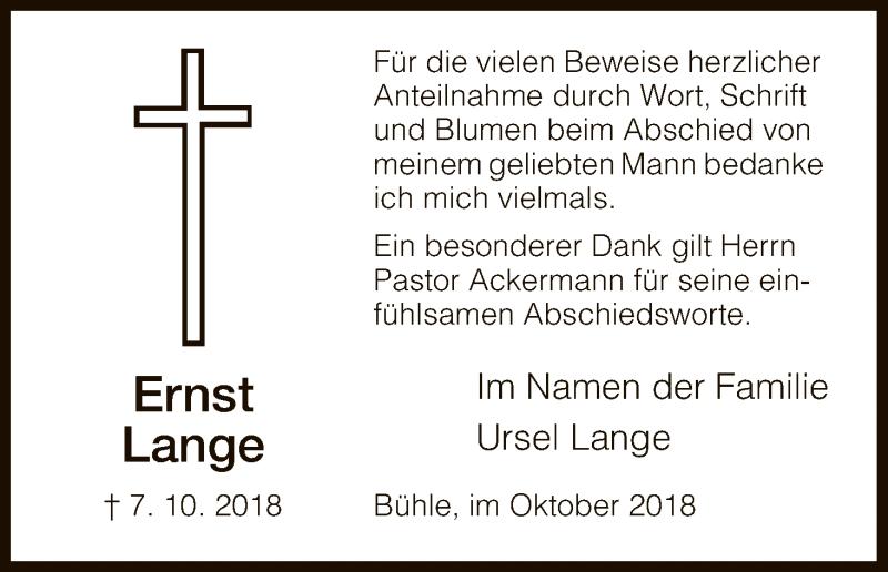 Traueranzeige für Ernst Lange vom 27.10.2018 aus HNA