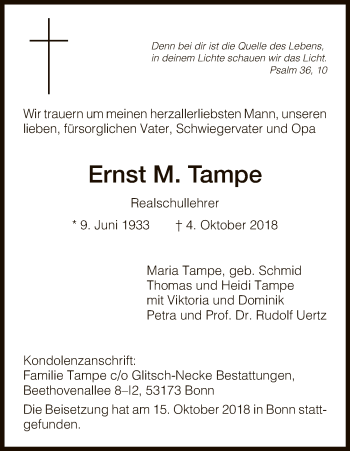Traueranzeige für Ernst M. Tampe vom 27.10.2018 aus HNA