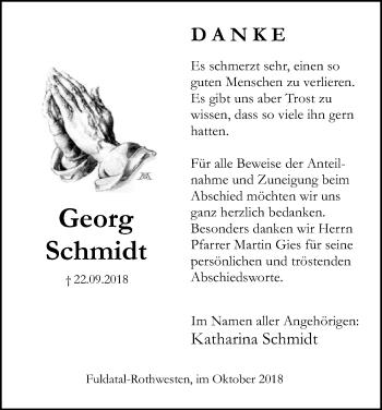 Traueranzeige für Georg Schmidt vom 11.10.2018 aus HNA