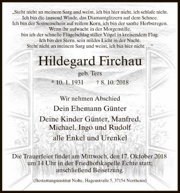 Traueranzeige für Hildegard Firchau vom 11.10.2018 aus HNA