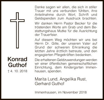 Traueranzeige für Konrad Guthof vom 10.11.2018 aus HNA