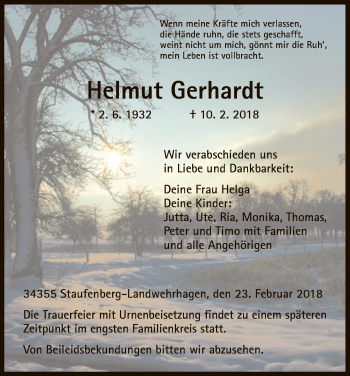 Traueranzeige von Helmut Gerhardt von HNA