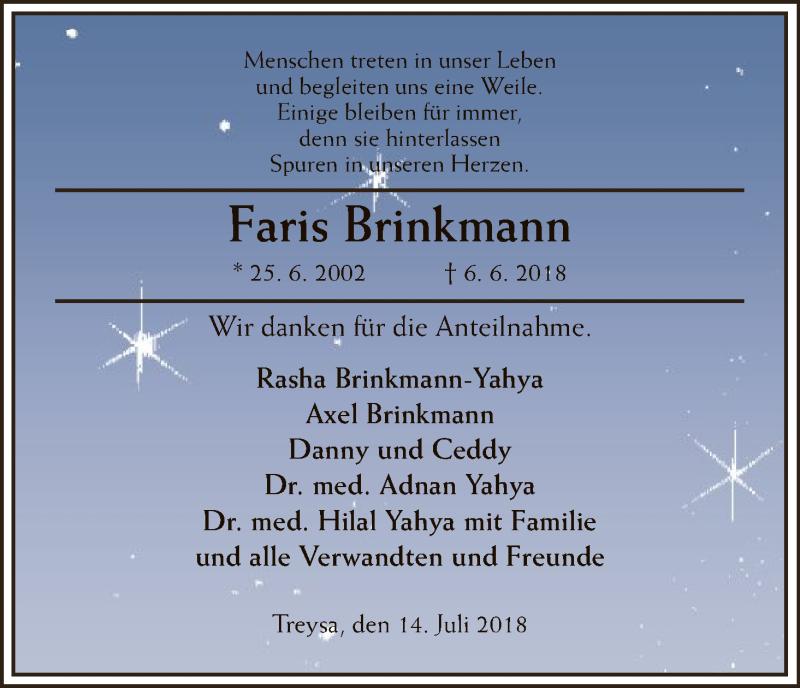 Anzeige von  Faris Brinkmann