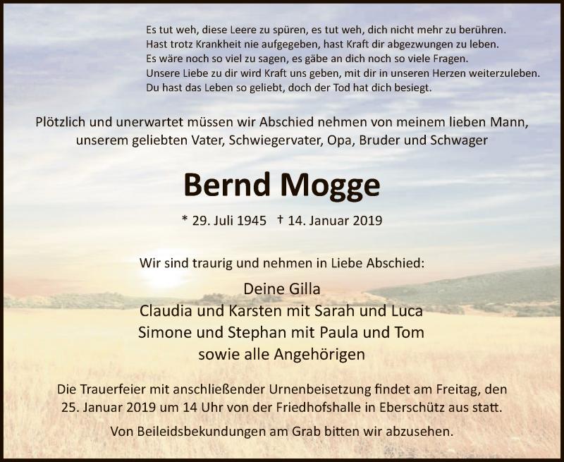 Traueranzeige für Bernd Mogge vom 22.01.2019 aus HNA
