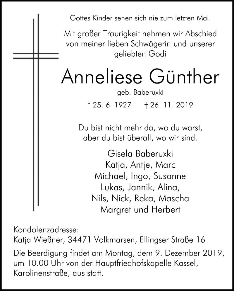 Traueranzeige für Anneliese Günther vom 30.11.2019 aus HNA
