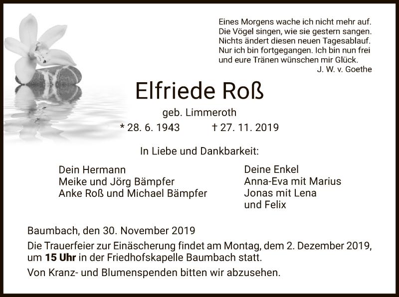 Traueranzeige für Elfriede Roß vom 30.11.2019 aus HNA