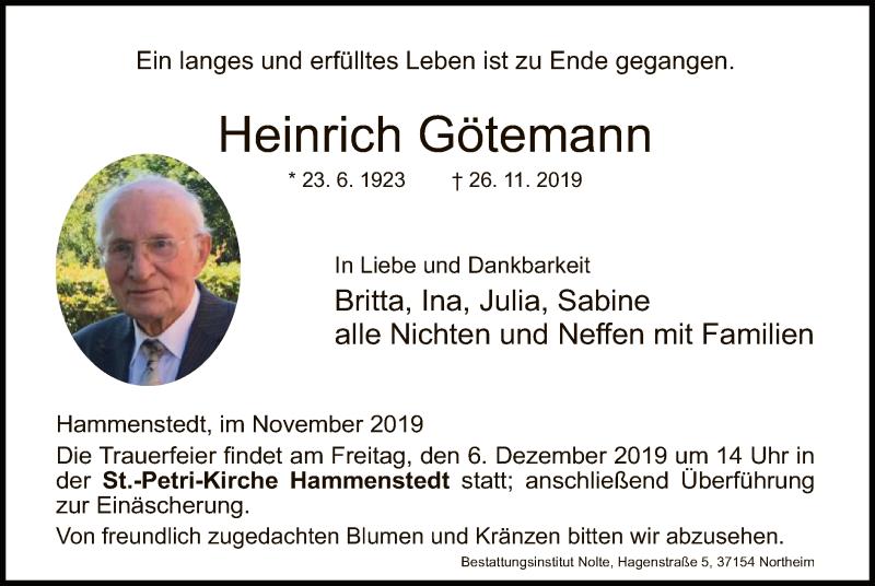 Traueranzeige für Heinrich Götemann vom 30.11.2019 aus HNA