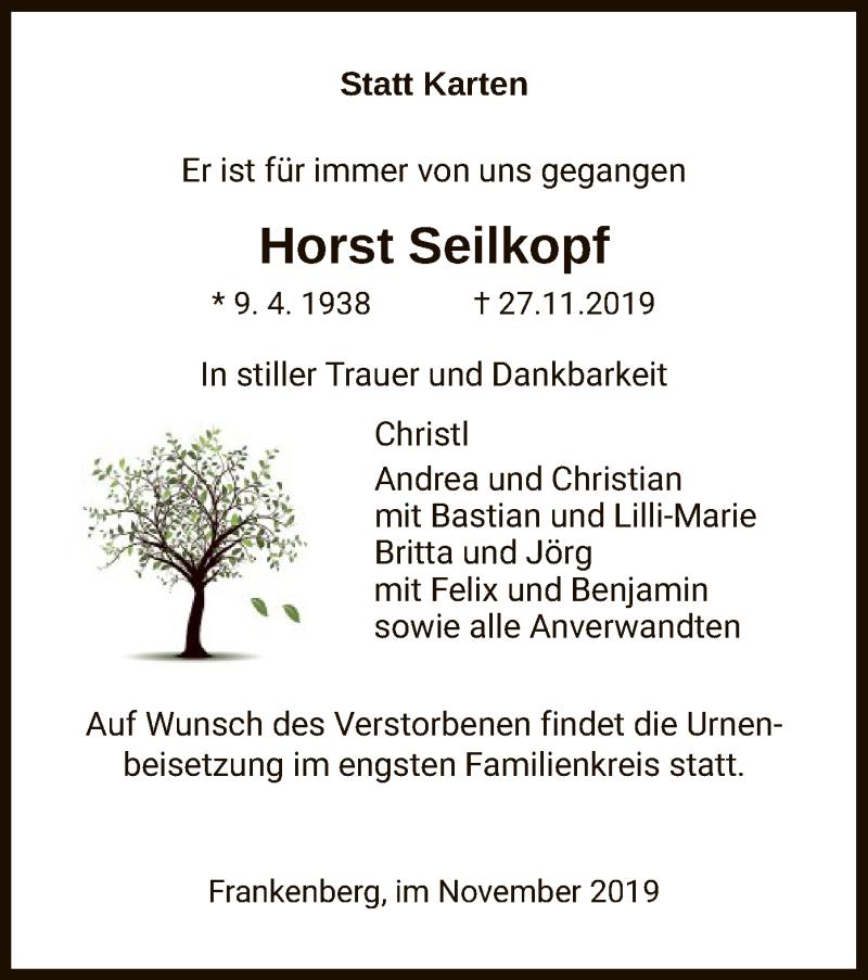 Traueranzeige für Horst Seilkopf vom 30.11.2019 aus HNA