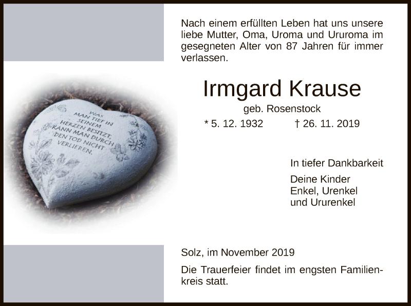 Traueranzeige für Irmgard Krause vom 30.11.2019 aus HNA