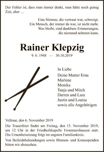 Traueranzeige von Rainer Klepzig von HNA