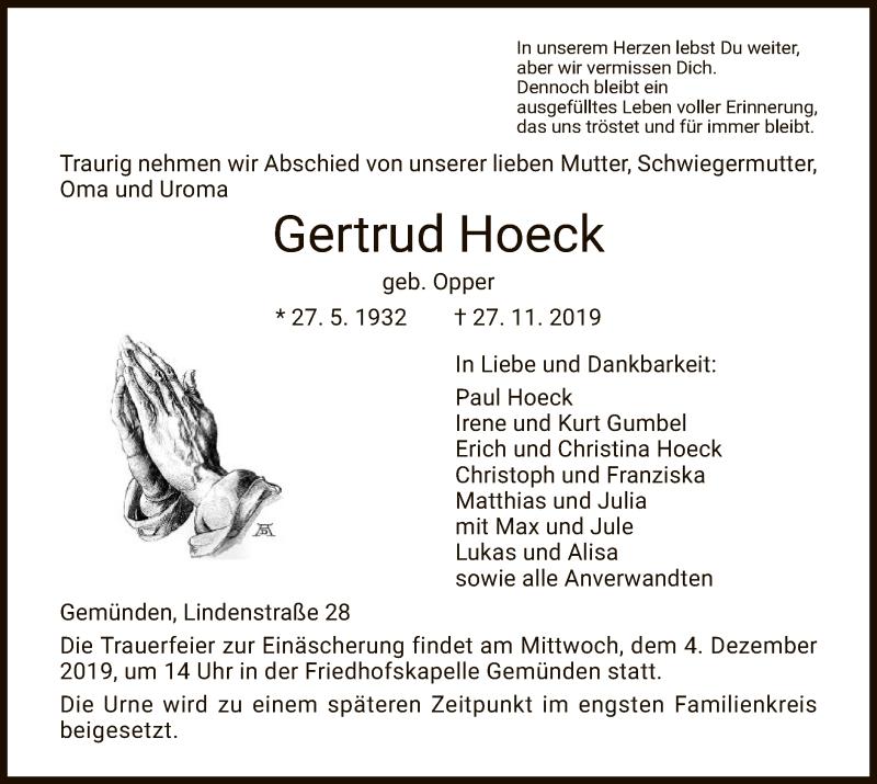 Traueranzeige für Gertrud Hoeck vom 02.12.2019 aus HNA