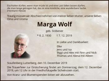 Traueranzeige von Marga Wolf von HNA