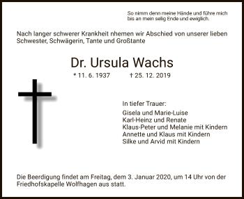 Traueranzeige von Ursula Wachs von HNA