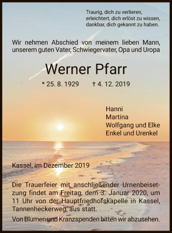 Traueranzeige von Werner Pfarr von HNA