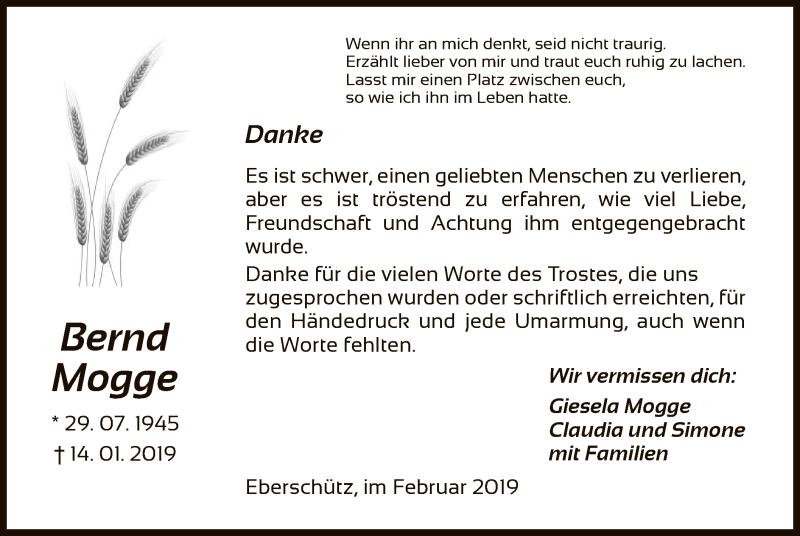 Traueranzeige für Bernd Mogge vom 23.02.2019 aus HNA