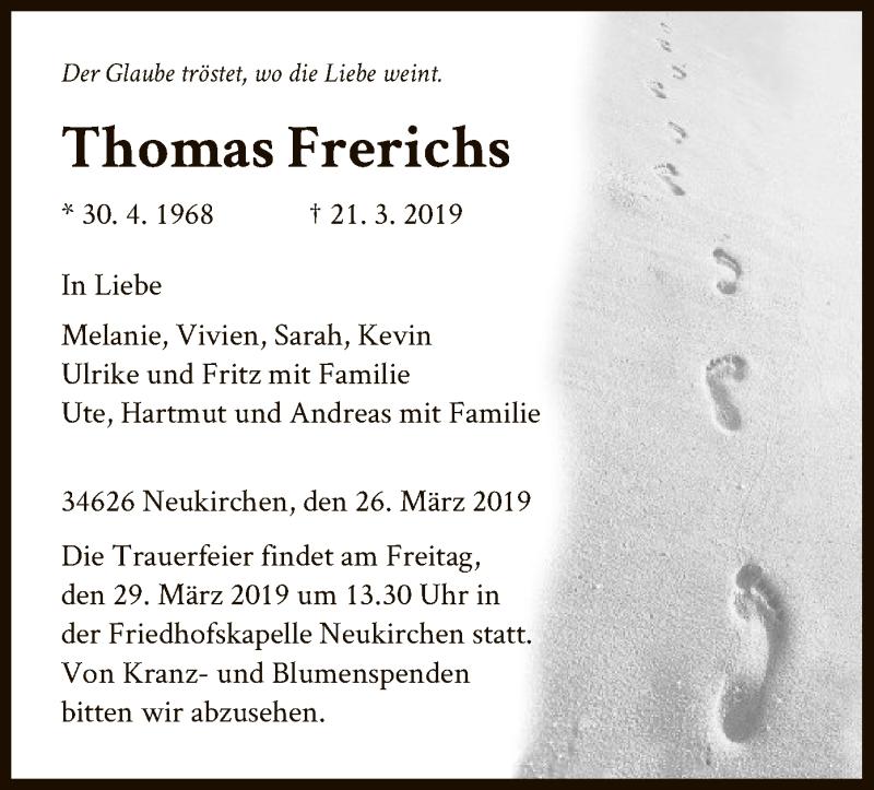 Traueranzeigen Von Thomas Frerichs Trauer Hna De