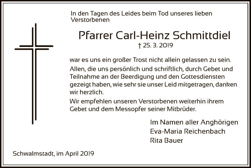 Traueranzeige für Carl-Heinz Schmittdiel vom 13.04.2019 aus HNA