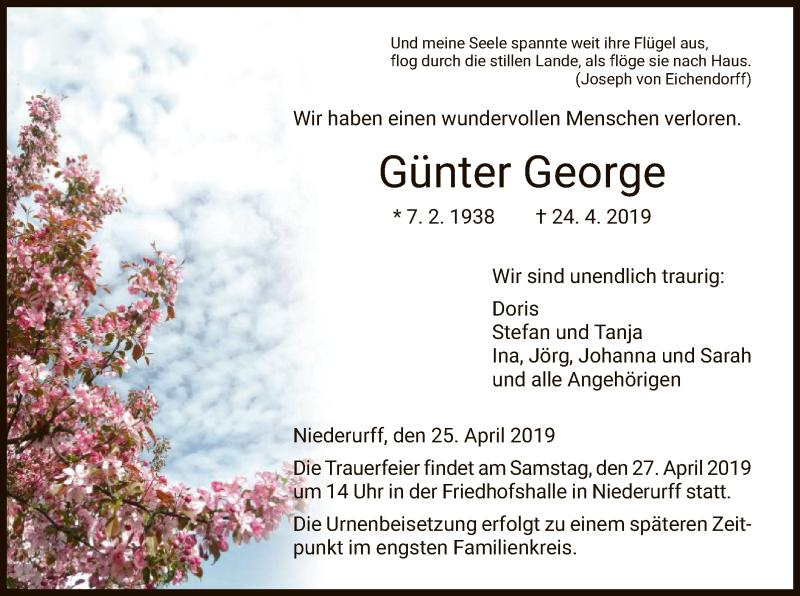 Traueranzeige für Günter George vom 25.04.2019 aus HNA