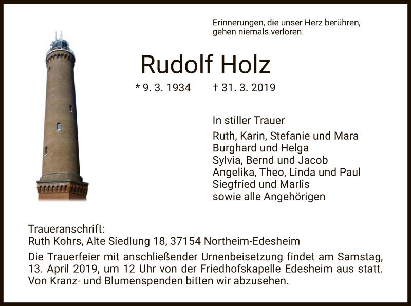 Traueranzeigen Von Rudolf Holz