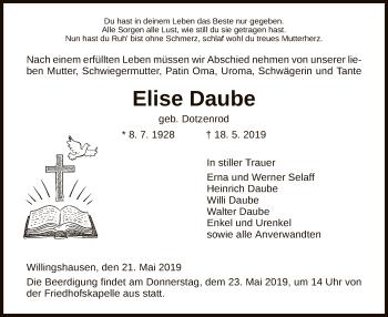 Traueranzeige für Elise Daube vom 21.05.2019 aus HNA