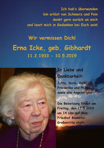 Traueranzeige für Erna Icke vom 15.05.2019 aus HNA