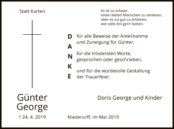 Traueranzeige für Günter George vom 15.05.2019 aus HNA
