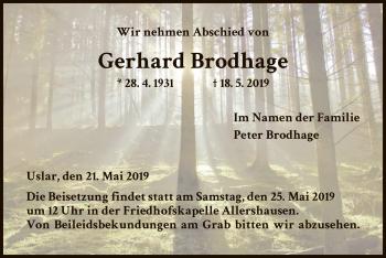Traueranzeige für Gerhard Brodhage vom 21.05.2019 aus HNA