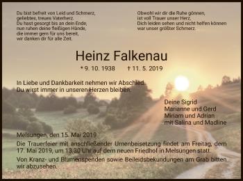 Traueranzeige für Heinz Falkenau vom 15.05.2019 aus HNA