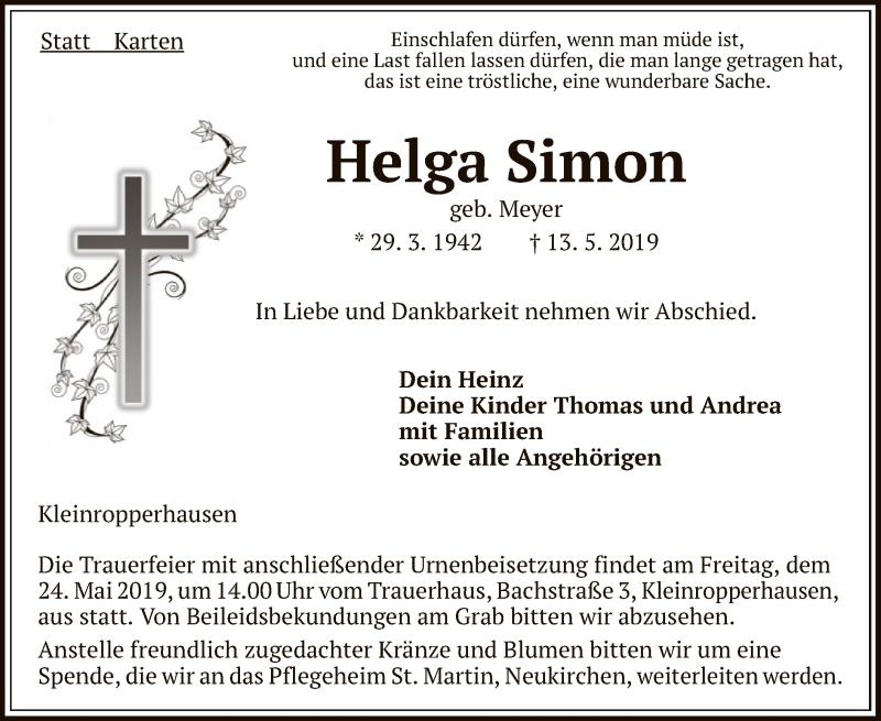 Traueranzeige für Helga Simon vom 21.05.2019 aus HNA