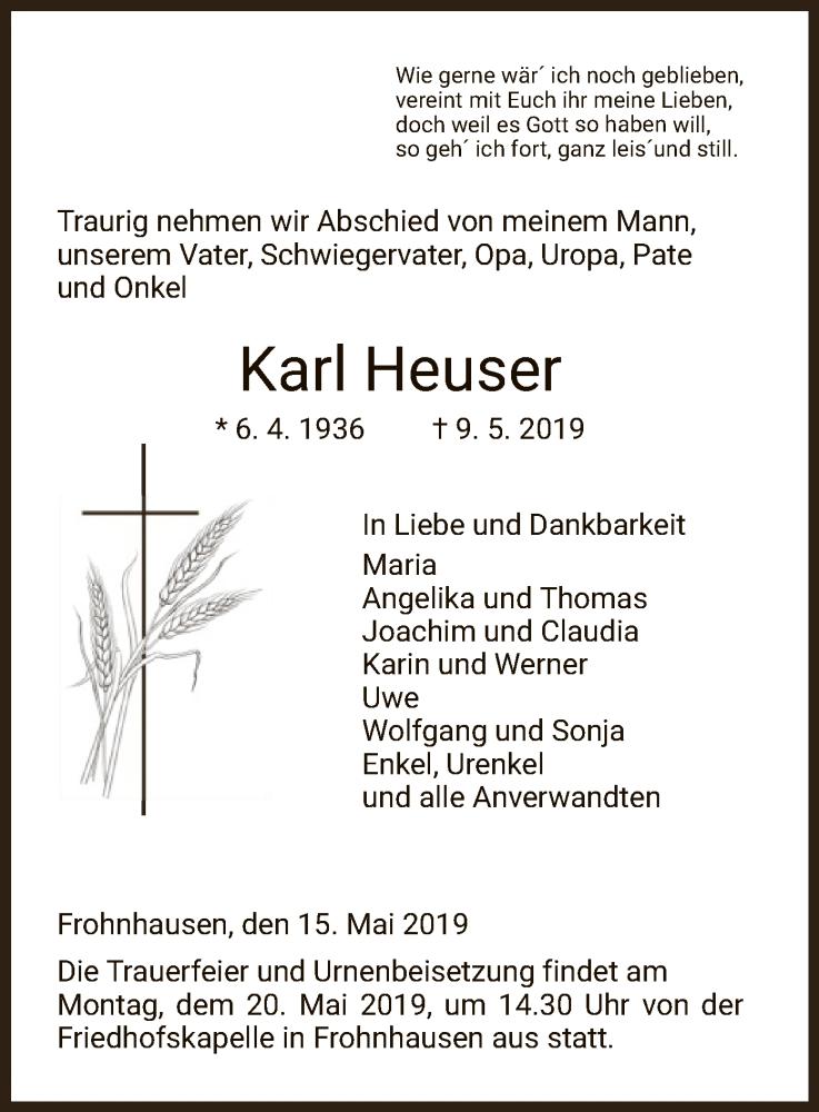 Traueranzeige für Karl Heuser vom 15.05.2019 aus HNA