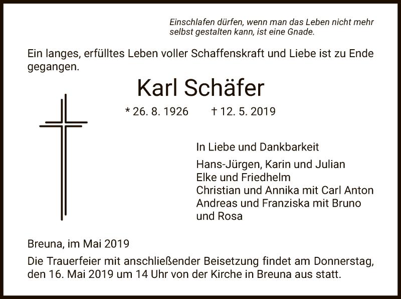 Traueranzeige für Karl Schäfer vom 15.05.2019 aus HNA